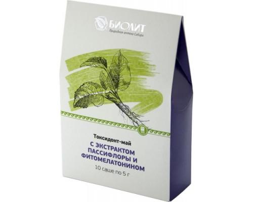 Токсидонт-май с экстрактами пассифлоры и фитомелатонином, 10 саше по 5 г